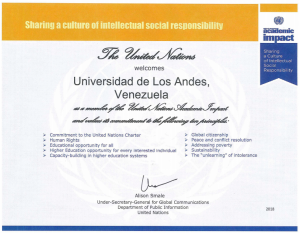 UNAI membership certificate awarded to the University of Los Andes