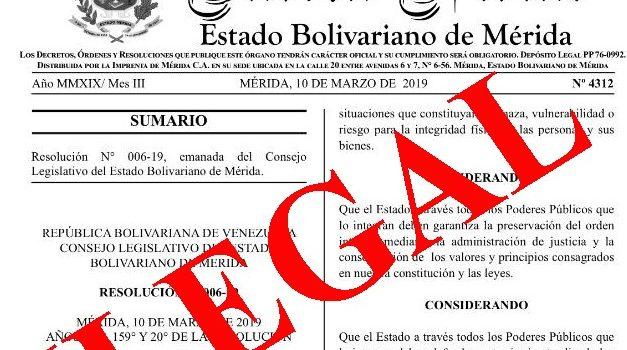 Fraudulenta resolución del Consejo Legislativo de Mérida impone estado de sitio tras el apagón nacional del 07/03/2019