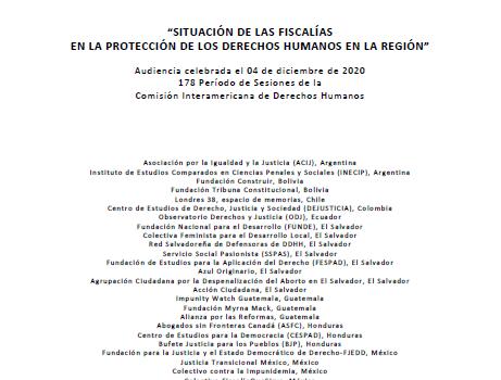 [Informe de audiencia CIDH] Situación de las fiscalías en la protección de los derechos humanos en la región